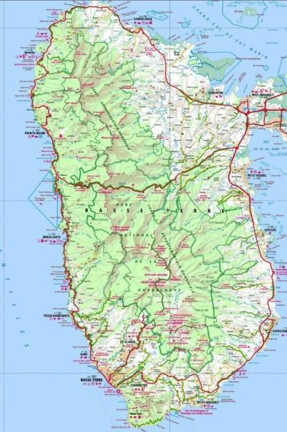 LA BASSE TERRE, présentation générale de l'île avec carte