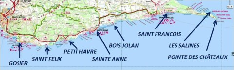South grande terre guadeloupe beaches map