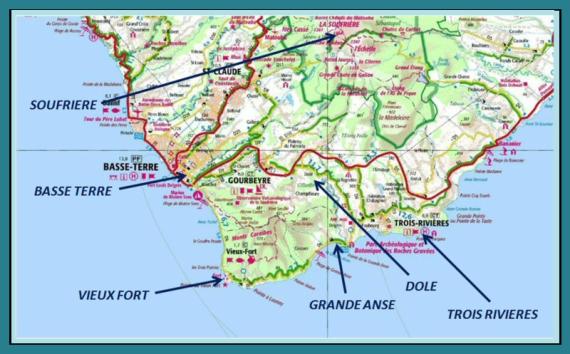 guadeloupe, basse terre, map