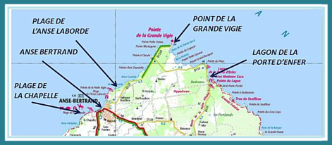 guadeloupe, grande terre, nord, carte