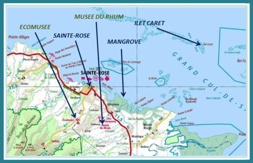guadeloupe, basse terre,map, north coast, sainte-rose