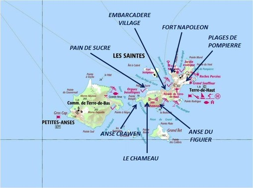 les saintes, guadeloupe, map