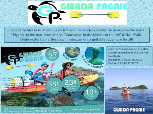 guadeloupe, malendure, bouillante, ilet pigeon, cousteau, pagaie, canoe, gwada pagaie