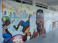 guadeloupe, basse terre, poste, mur, dessins, art